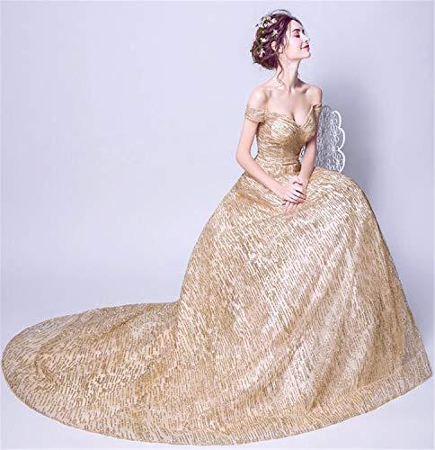 LYJFSZ-7 Hochzeitskleid,Champagner Gold Brautkleid, Bodenlangen Kleid, Schulterfrei, Partykleid