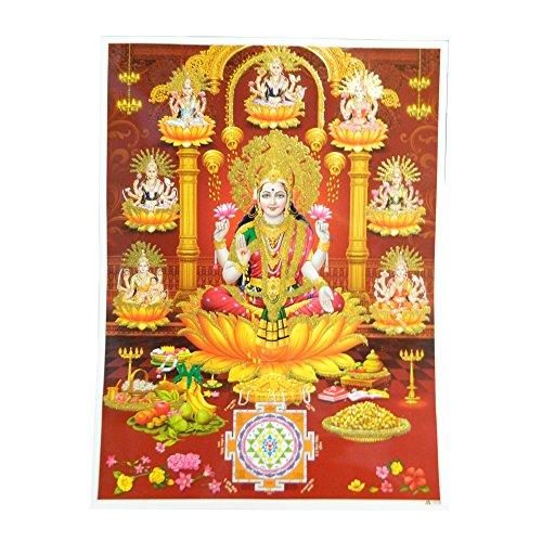 indischerbasar.de Stampa divinita' Lakshmi su Fior di Loto 30 x 40 cm Stampa su Carta Accessori Decorazione casa