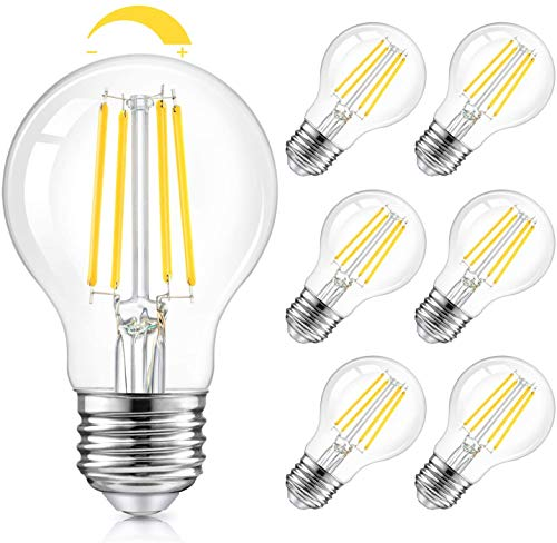 LED A19 Dimmable Light Bulbs 100W Equivalent, Vintage E26 Edison Bulbs 8W 1200LM, 5000K Daylight White, Clear Antique LED Filament Bulb for Home, Bathroom, Indoor&Outdoor, 6-Pack