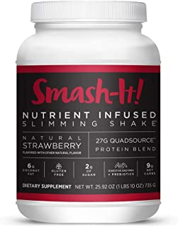 Primal Labs Smash-It! Nutrient Infused Weight Loss Shake, Gluten-Free, Non-GMO, High Protein Powder, Delicious Strawberry Taste, Free E-Book with Every Purchase.