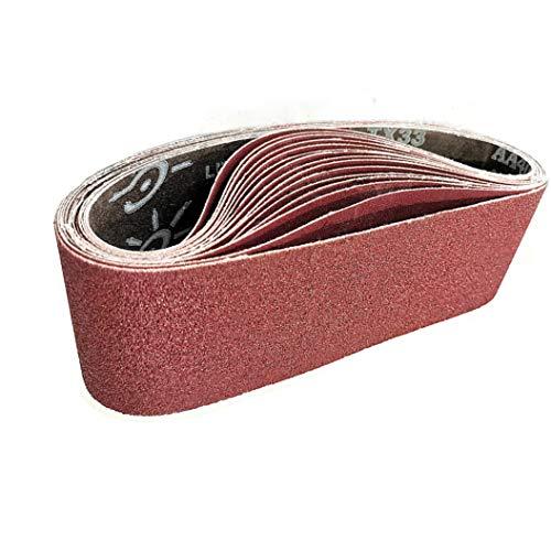 Schleifbänder | 75 x 533 mm Schleifband | für Bandschleifer und Schleifer | je 3 Stück der Körnung 80/120/150/240/400 – 15 Stück