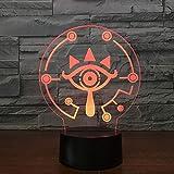 LIkaxyd Lampada Da Tavolo 3D Link Wild Link Respirazione Luce Notturna 7 Colori Che Cambiano Diapositiva Visiva