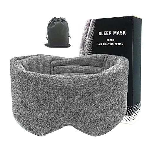 Bticx Máscara tapa-olhos para dormir, 100% algodão, 100% seda interna, capa de dormir 100% feita à mão, capa de olhos blackout confortável, dobrável ajustável com bolsa de viagem para mulheres e homens