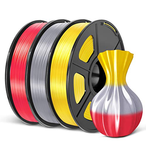 PLA Shiny Silk 3D Printer Filament 1.75mm, SUNLU 3D Printing Consumables Support FDM, Dimensional Accuracy +/- 0.02 mm 1.1LBS (0.5 Kg) Spool No-Tangle (Shiny Silk Yellow+Silver+Red PLA+)