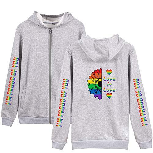 Luanda* Bandera del Arco Iris, LGBT 2021, Jersey, SuéTer con Capucha De ImpresióN Digital 3D, Abrigo Deportivo Informal con Capucha, Sudadera/Gray / 2XL