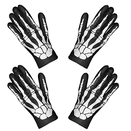 SOOFUN Guantes de Esqueleto Disfraz Halloween, 2 Pares de Huesos de Cráneo Guantes de Dedo Completo para Mujer/Niño/Hombre, Accesorios de Halloween y Fiesta de Disfraces de Baile de Halloween