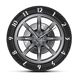 WANGXJ Car Service Repair Garage Owner Tire Wheel Car Auto Wall Clock Watch Vintage Cool Mechanic Gift Ideal for Car Workshop 30X30Cm