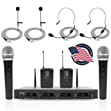 Pyle 4 Channel Wireless Microphone System-Portable UHF Audio Set with 2 Handheld, 2 Headset, 2 Lavalier Mics, 2 Transmitter, 8 'AA' Battery, Power Adapter-for Karaoke, PA, DJ PDWM4540