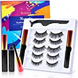 2021 Upgraded Magnetic Eyeliner and Lashes Kit Magnetic Eyelashes with Eyeliner Set with Waterproof Reusable Lashes Natural Look [5 Pairs] Easy to Use (Black - 05 Pairs)