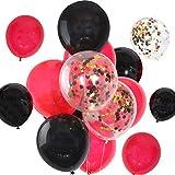 Miotlsy 30 Pièces Confetti Ballons en Latex Ballons, Ballon Rouge et Noir pour Mariage Fête Halloween Noël d'anniversaire Décorations (12 Pouces)