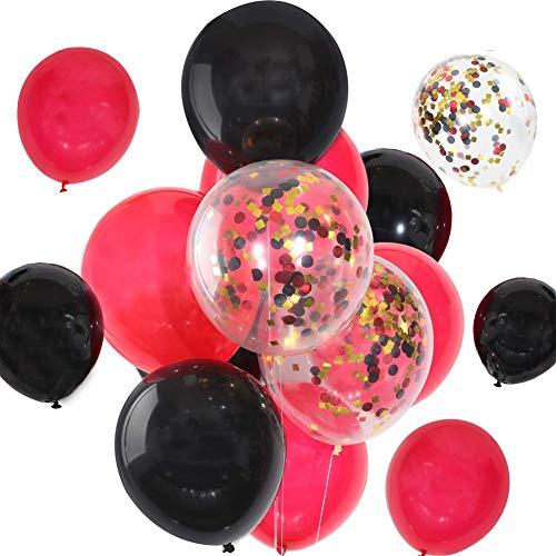 30 Piezas Globos Negro y Rojo,WENTS Globos Latex Perla, Globos de Confeti para Fiestas de cumpleaños, fiestas temáticas en el hogar, festivales Decoraciones(12 pulgada)