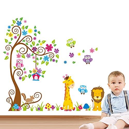 Árboles de gran tamaño animales 3D DIY colorido búho pegatinas de pared calcomanías de pared adhesivo para niños bebé cambiador Mural decoración del hogar papel tapiz