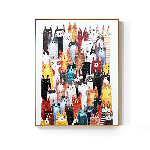 Dibujos animados de gatos y perros nórdicos carteles e impresiones moda decoración de mascotas sala de estar linda niños arte de la pared imágenes carteles de jardín de infantes 50x70cm_No_Framed_2