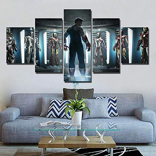 ZDDBD 5 Piezas Iron Man Marvel Avengers Lienzo Ironman Traje película Pintura sobre Lienzo Cuadros modulares película Dropshipping Arte de la Pared Ironman Poster F