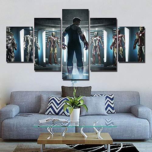 BAIOKAISHUII 5 Stück Iron Man Marvel Avengers Leinwand Ironman Anzug Film Gemälde auf Leinwand modulare Bilder Film Dropshipping Wandkunst Ironman Poster F2194-Rahmenlos