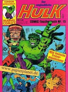 Der unglaubliche Hulk Comic-Taschenbuch 15, mit She-Hulk, Condor Marvel Comics Condor präsentiert: