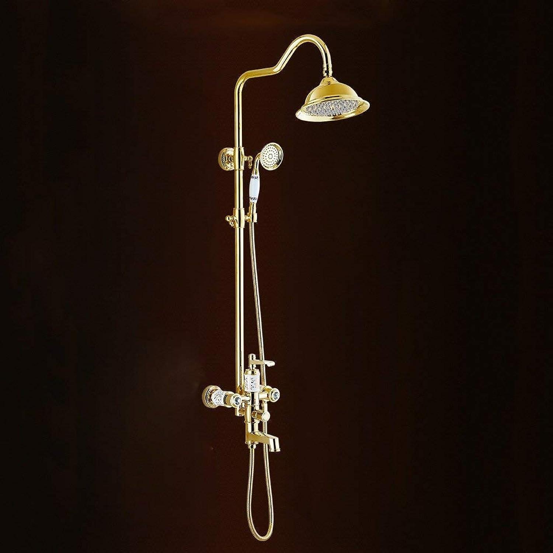 FEI Shower Set Full Copper European Style golden Shower Antique Shower Shower Set Bathroom Lift Hot and Cold Shower