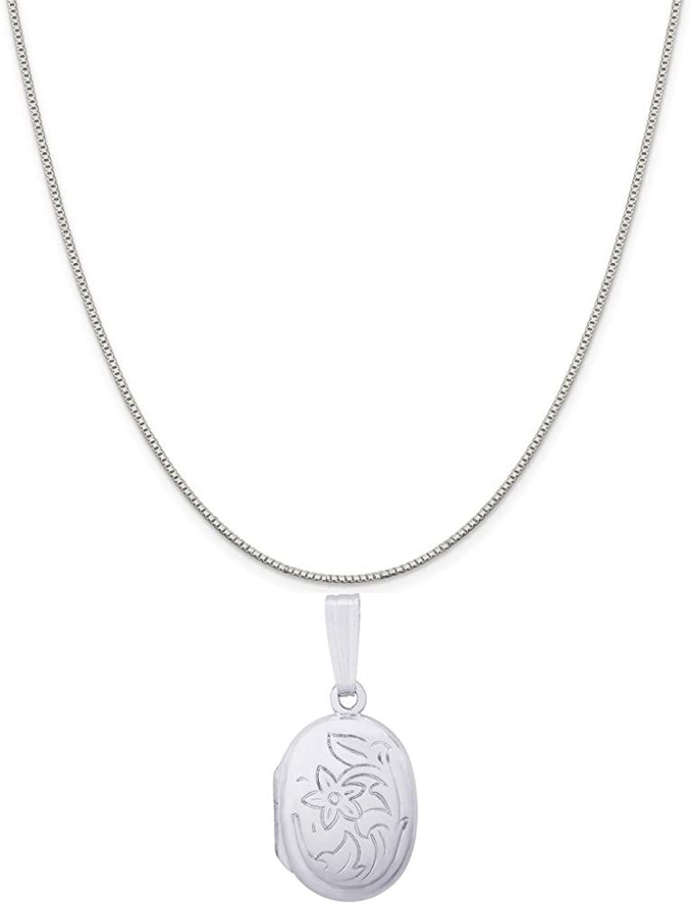 Rembrandt Charms 14K White Gold Oval Flower Locket Charm on a 16, 18 or 20 inch Rope, Box or Curb Chain Necklace