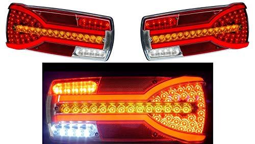 2x Neon LED Rückfahrscheinwerfer Kombi Rücklicht 12-24V Dynamische Richtungsanzeiger E-Mark LKW Anhänger Chassis Bus Wohnmobil