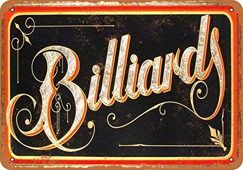 Billiards Blechschild Retro Blech Metall Schilder Poster Deko Vintage Kunst Türschilder Schild Warnung Hof Garten Cafe Toilette Club Geschenk