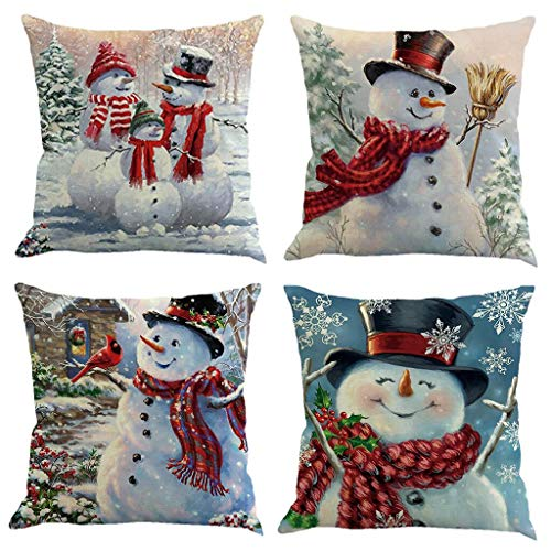 Korlon 4 Pcs Christmas Pillow Covers 18x18 Inch, Holiday Decorative Christmas Pillow Covers, Christmas Pillows for Sofa, Couch, Bed and Car