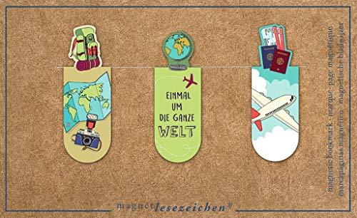 Magnetlesezeichen Um die ganze Welt | 3er Set magnetisches Lesezeichen | charmant illustriert