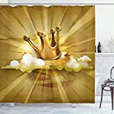 Ambesonne King Shower Curtain, Medieval Fairytale Inspired Crown with Clouds Abstract Bold Striped Vintage Image, Cloth Fabric Bathroom Decor Set with Hooks, 75' Long, Pale Coffee