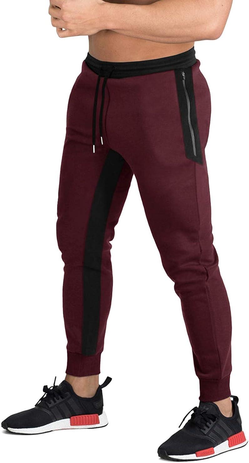 LACSINMO Mens Jogger Pants Elastic Running Pants Breathable Training Sweatpants with 3 Zipper Pockets