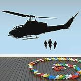 Ajcwhml Gran Silueta de avión, Pegatina de Pared de Moda Fresca, Arte de Vinilo, habitación de niños, calcomanías Decorativas para Pared, decoración de Pared de helicóptero del ejército 79X138CM