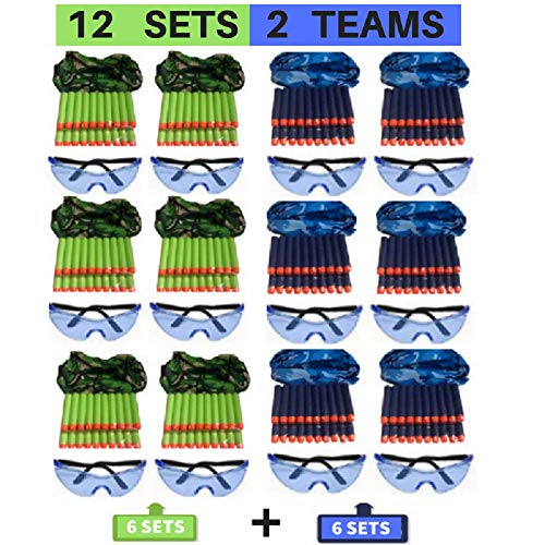 Wishery Party Supplies Compatible with Nerf Gun Party Supplies. 12 kids - Nerf War Birthday Party Favors, Accessories Pack for 2 Teams