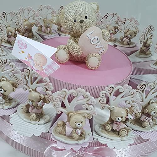 35 fette Torta bomboniere Battesimo Orsetto Albero della Vita Bambina Confetti e Centrale Inclusi (Torta 35 fette 3 Piani)