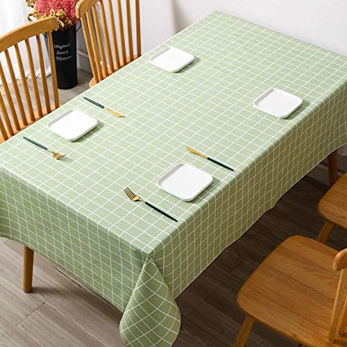 Kuingbhn Manteles de Mesa con Efecto Loto Lavable Impermeable PVC Doméstico Simple Antimanchas Resistente a La Suciedad Resistente Verde 140 × 200cm
