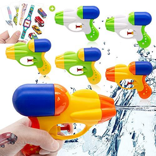 AYUQI 6Pcs Pistola ad Acqua Water Pistol per Ragazzi e Ragazze Squirt Guns per Festa Estiva all\'aperto Spiaggia della Piscina Bomboniere, Adesivi per Tatuaggi (Color 2)