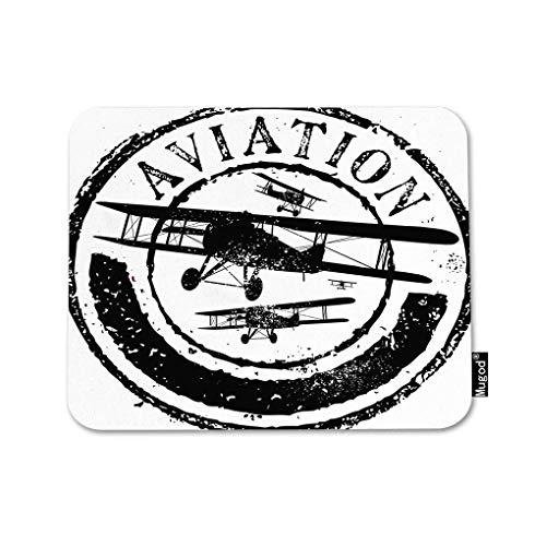 Vliegtuig muismat stempel met de tekst luchtvaart Sky Vlucht Vleugels Jet Machine Gaming Muis Mat Antislip Rubber Base Mousepad voor Computer Laptop PC Bureau Office&Home Werken