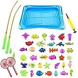 Surplex 43 PCS Juguete de Pesca para Niño, Juguetes de Magnético del Flotante Bañera, Educativa Juego Acción Juguetes del Baño Reflejo para Bebe Agua Piscina Baño Playa(Colorful, 2-5 años)