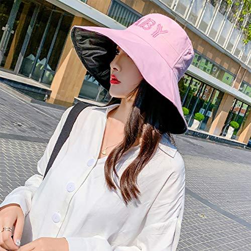 TJLJFTILTIR Signore Pieghevole Anti-UV Solare Cappello Grande Lungo Piccola Protezione del Bacino della Protezione della Spiaggia Primavera Estate della Signora Parasole Facile da Piegare,D,56~58CM