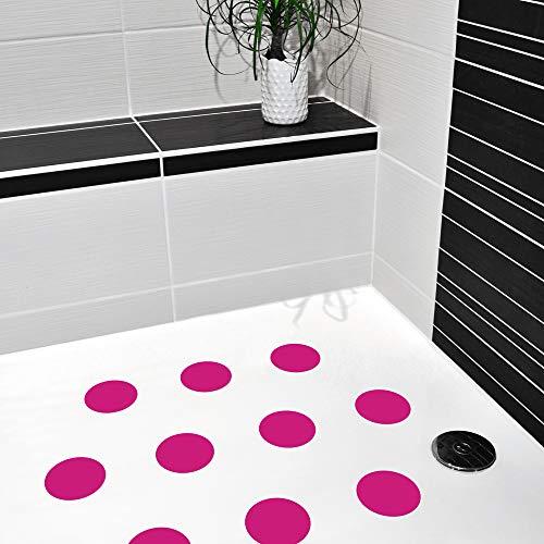 10 STK. Anti-Rutsch Sticker für Duschen & Badewannen, farbig, Rutschklasse C DIN 51097, selbstklebend (pink)