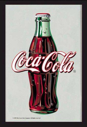 empireposter Coca Cola Logo - Bedruckter Spiegel mit Kunststoff Rahmen in Holzoptik, Kult-Spiegel - Grösse 20x30 cm