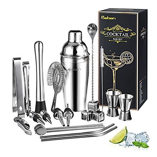 Baban Shaker Cocktail Set 22 Pièces, Shaker Acier...