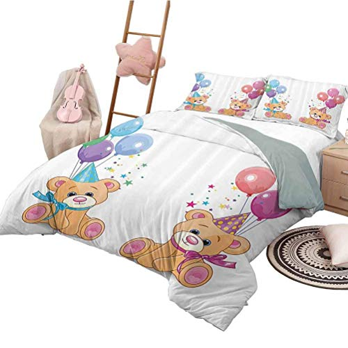 Children Bedding Duvet Cover Set Cute Teddy Bears Sitting with Party Baloons Celebration Kids Toys Funny Design Decorative 3 Piece Bedding Set Twin Size