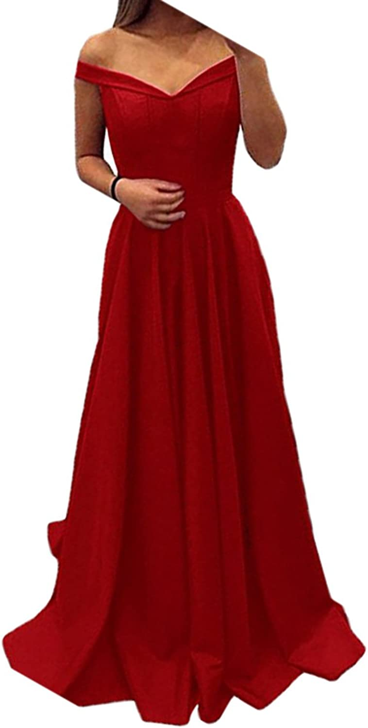 Alilith.Z Sexy Off The Shoulder Satin Prom Dresses A Line Long Formal Evening Dresses Party Gowns for Women