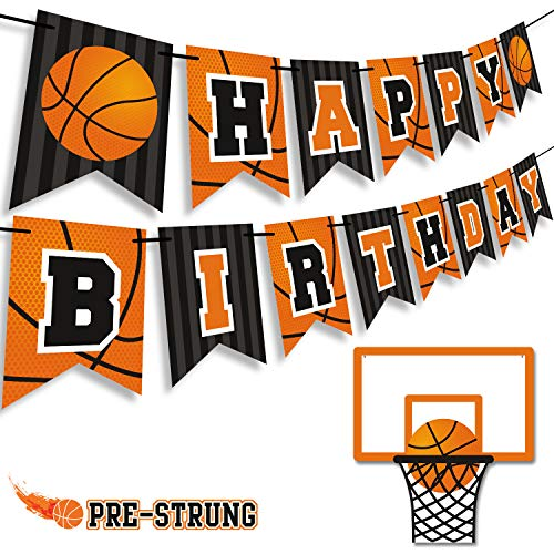 Basketball Happy Birthday Banner Slam Dunk Party Decoration Supplies Kids Teenagers Boys B-day Photo Prop Pennant Ideas NO DIY Required