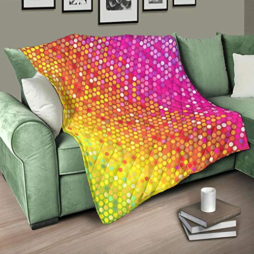 HMML Quilted Throw Blanket Rainbow Colorful Geometry Ultra Cozy Quilt Throws for Summer Autumn Winter White 39x59 inch