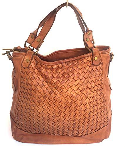 Superflybags Damentasche Modell MURCIA In echtem Leder Vintage Geflochten Made In Italy Äußeres Material