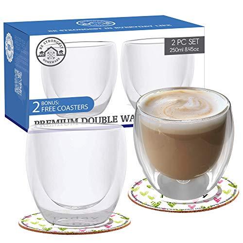 Dubbelwandige koffiekopjes - Sets van 250ml/2-8.5oz Cappuccino Bekers - Elegante dubbelwandige glazen Tumblers Latte Bril Houd drankjes warm of koud - Glazen Beker Dubbele Muur Mokken om te genieten van Espresso Thee etc.