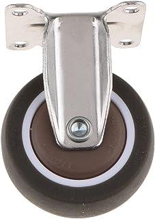 Heavy Duty Rubber Castor Trolley Wheel Industrial Caster Fixed Plate (Size : 1.25 Inch)