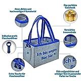 CLEENA Flaschentasche + Flaschenöffner Filz Biertasche Geschenk 6 Flaschen 0.5l (Blau)