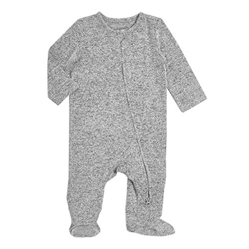 aden + anais Snuggle Knit Baby Boy or Girl Long Sleeve Zipper, One-Piece Footed Sleeper, Heather Grey, 3-6M