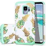 Fingic Galaxy S9 Pineapple Case,S9 Case for Women,Slim&Shiny Colorful Pineapple Cover Hard PC&Soft Rubber Anti-Scratch Skin Cover for Samsung Galaxy S9,Pineapple/Green