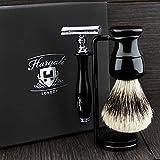 Kit de rasage de la Couleur Noire Hommes avec pointe argentée blaireau cheveux blaireau de support double pour rasoir, Brosse, le...